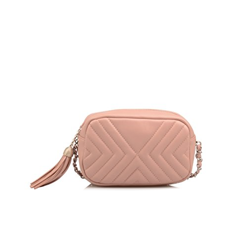Crossbody Nude Small Leather Wallet Pink Ainifeel Purse Quilted Wallet Genuine Women's Cqfwz0xRS
