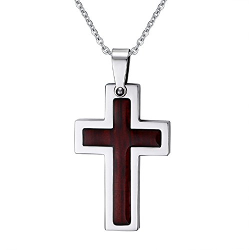AnaZoz Stainless Steel Wood Sticker Cross Pendant Necklace for Women 42mm