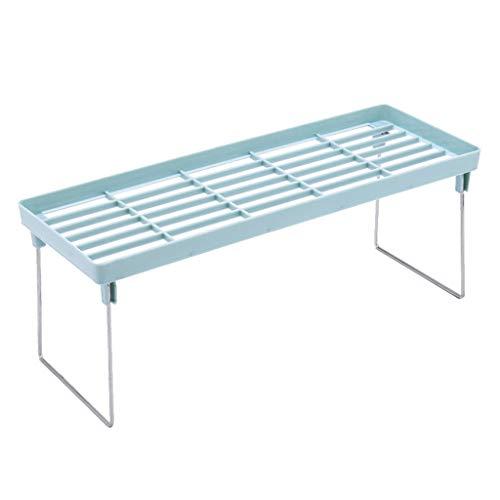 Maikouhai Standing Rack Kitchen Bathroom Countertop Storage Organizer Shelf Holder Rack for Pepper Grinders, Condiments Jars - PP + Stainless Steel, Space Between Tiers 5.7 Inch, 40x14x14.5cm (Blue)
