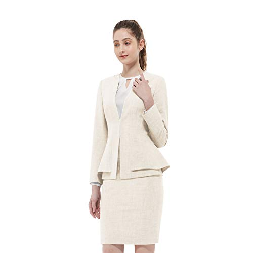 Women Business Suit Set for Office Lady Two Pieces Slim Work Blazer & Skirt (Wheat, 14)