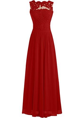 Toskana Braut - Elegante vestido largo de noche sin mangas, de gasa Rojo