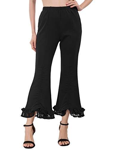 SCARLET DARKNESS Women Gothic Capri Pants Steampunk Pirate Yoga Pants Black XL -