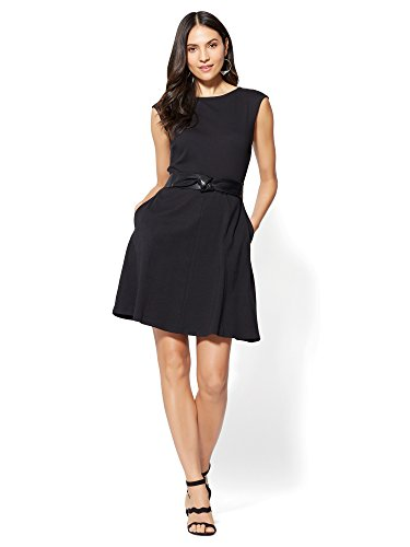 New York & Co. Women's Cotton Bateau-Neck Fit Flare Dress Large Black