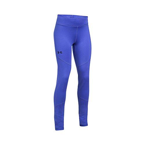 Under Armour Girls' ColdGear Leggings,Constellation Purple (530)/Black, Youth Large (Girls Skating Pants)