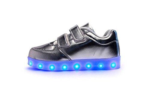 (Present:kleines Handtuch)JUNGLEST® 7 Farbe LED Leuchtend Aufladen USB Kinderschuhe Paare Schuhe Herbst und Winter Sport schuhe Freizeitschuhe Leucht lau Silber