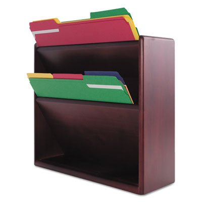 Hardwood Double Wall File, Letter, Two Pocket, Mahogany, Sold as 2 Each