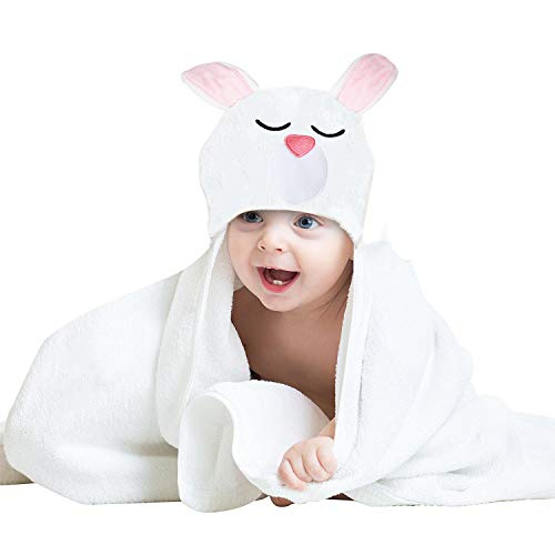 Baby Hooded Towels and Washcloths for Girls or Boys,100% Organic Bamboo Baby Bath Towels with Hoods,Extra Soft & Thick,Large Sized for Newborns & Infants &Toddlers-Pink Bunny