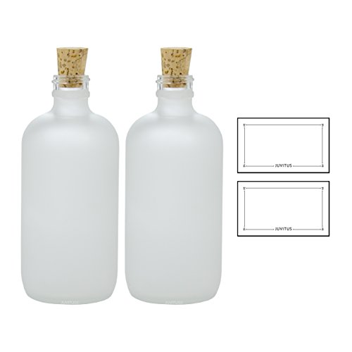 8 oz Frosted Clear Glass Boston Round Bottle with Cork Stopper Closure (2 Pack) + Labels