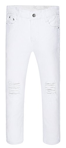 (Boy's Ripped Skinny Jeans Destroyed Stretch Slim Distressed Pants White 8)