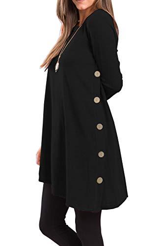 iGENJUN Women's Long Sleeve Scoop Neck Button Side Sweater Tunic Dress,M,Black