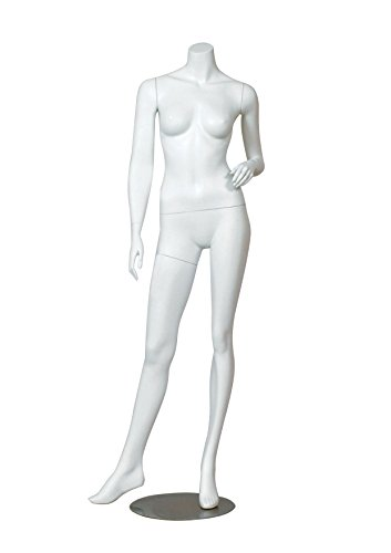 AMKO ERICA-2 Headless Female Mannequin - Full Body Female Dress Form with Slanted Legs, Retail Clothing Form in Matte White. Mannequin Fixtures