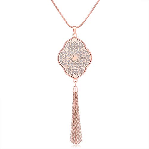 MOLOCH Long Necklaces for Woman Disk Circle Pendant Necklaces Tassel Fringe Necklace Set Statement Pendant (Quatrefoil-Shaped-Rose Gold)