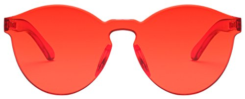 RTBOFY One Piece Rimless Sunglasses Transparent Candy Color Eyewear - Eyewear Transparent