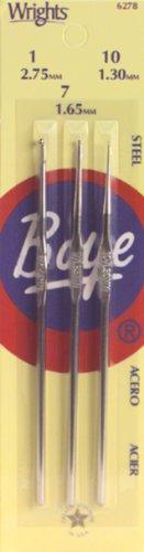 (Boye Steel Crochet Hook Set, Sizes 1,7,10 )