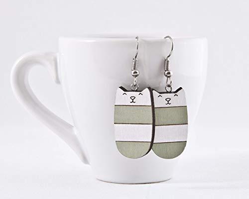 Mint Cat Earrings, Dangle Earrings, Gifts for Her Birthday, Mint Funny Earrings, Girlfriend ()