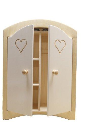 Puppenkleiderschrank inkl. 5 Kleiderbügeln / Material: Holz / Farbe: natur/weiss / Maße: 44,5 x 21,5 x 61 cm / Gewicht: 8,1 kg
