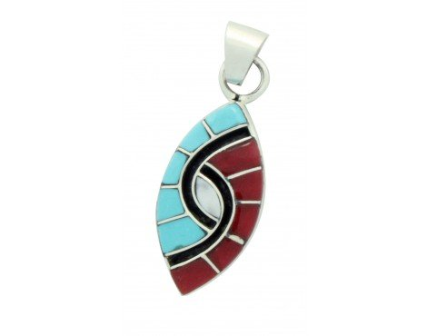 Amy Quandelacy, Pendant, Turquoise, Coral, Inlay, Hummingbird, Zuni Made, 1.4