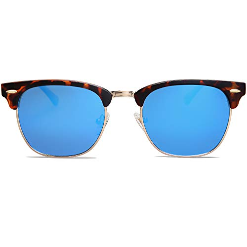 SOJOS Semi Rimless Polarized Sunglasses Half Horn Rimmed Glasses SJ5018 with Tortoise Frame/Blue Mirrored Polarized Lens ()