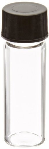 (JG Finneran 84020-1545 Borosilicate Glass Dram Sample Vial with Solid Top Cap and PTFE/F217 Septa, Clear, 1 Dram Capacity, 15mm Diameter x 45mm Height (Case of 100))