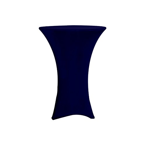 Your Chair Covers - 36 inch Cocktail Round Stretch Spandex Table Cover - Navy Blue, Stretch Tablecloth (Table 36 Cocktail)