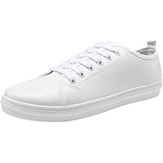 JOUSEN Men's Casual Shoes Memory Foam White Shoes Lightweight White Sneaker for Men (7,White)