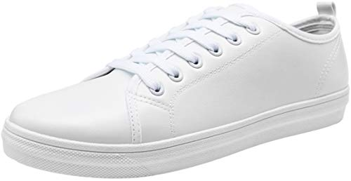 JOUSEN Men's Casual Shoes Memory Foam Fashion Sneakers Canvas Skate Shoes (9,White)