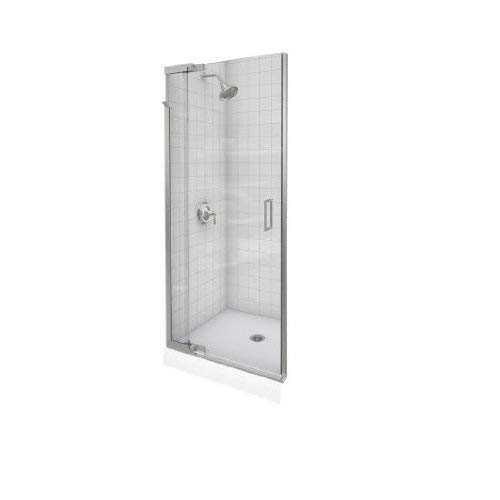 (KOHLER K-702013-L-SH Purist Frameless Pivot Shower Door, Bright Silver)