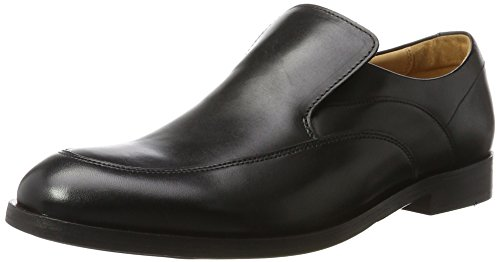 Para Hombre Clarks black Leather Step Corfield Mocasines Negro tFFaqw