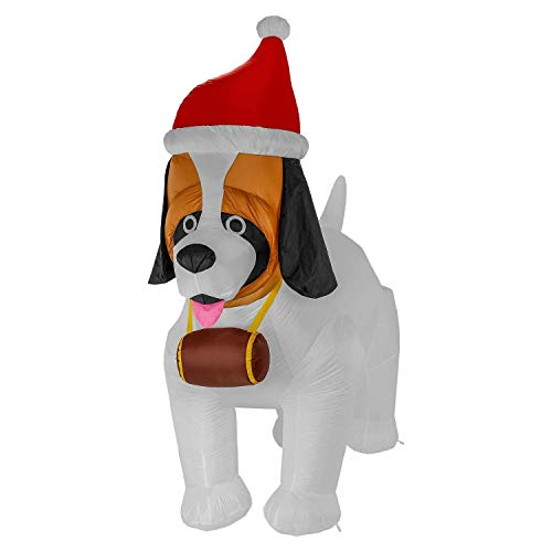 TCP Global Christmas Masters Giant 9 Foot Inflatable Saint Bernard Dog with Santa Hat and Brandy Barrel LED Lights Indoor Outdoor Yard Lawn Decoration - Cute Fun Xmas Holiday Blow Up Party Display