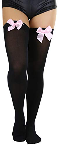 ToBeInStyle Women's Opaque Satin Bow Accent Thigh Highs - Black/Pink - One Size