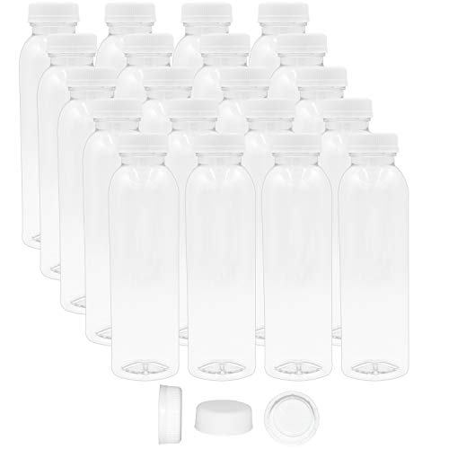 12 Oz Round Empty PET Plastic Juice Bottles - Pack of 38 Reusable Clear Disposable Milk Bulk Containers with White Tamper Evident Caps