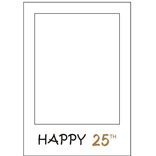 1 Pcs Happy Birthday 25th Wedding/Company Anniversary DIY Photo Frame Booth Prop Paper Photo Booth Props Picture Selfie Frame Background Party Decoration(HAPPY 25TH) ()