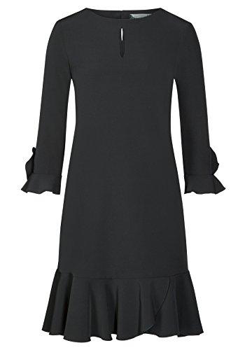 Black Mila Volantsdetails Nicowa Stilvolles Damen Kleid romantischen mit wn0RqUT