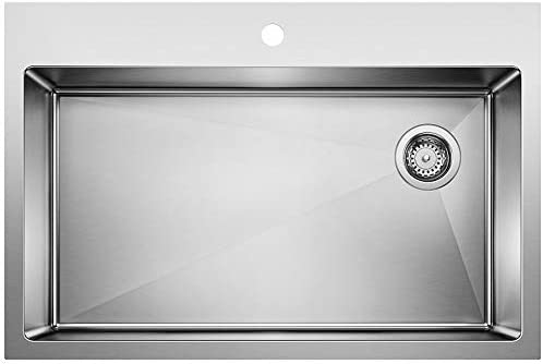 BLANCO 524221 Quatrus Stainless steel 1-Hole Drop-in or undermount Single Bowl Kitchen Sink, 33 L x 22 W x 9 H, Satin
