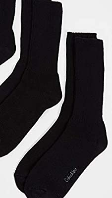Calvin Klein Underwear Men's 3 Pack Casual Rib Crew Socks, Black, One Size
