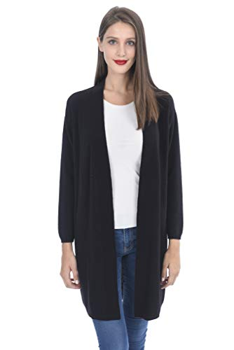 (State Cashmere Women's 100% Cashmere Soft Open Front Long Cardigan Black)
