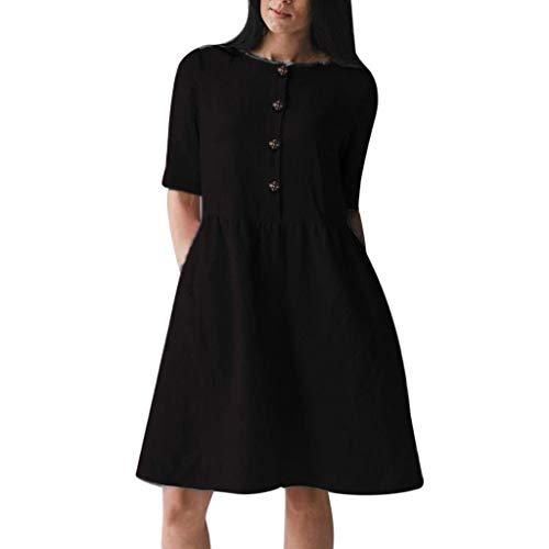 Nihewoo Women's Casual Plain Simple T-Shirt Dress Cotton and Linen Dress Short Sleeve Button Down Dress Cocktail Party Dress Black]()