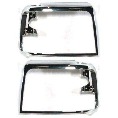 OE Replacement New Chrome Headlight Bezels Trim Set Direct Replacement for 1992-1996 Ford F150 F250 F350 Truck Bronco (Partslink Number FO2512130, FO2513131)