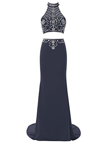 Bbonlinedress Vestido Mujer Fiesta Halter Dos Piezas Falda lápiz Con Cola Azul Oscuro