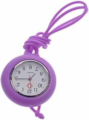 NICERIO Nurse Pocket Watch Medical Watch Silicone Nurse Pocket Hanging Watch Solid Color Nurse Round Watch