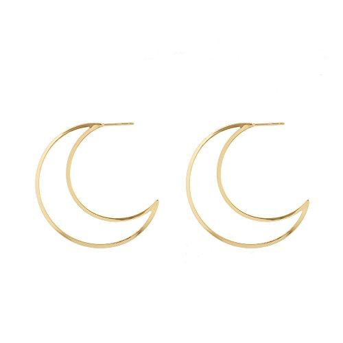 Crescent Hoop - Trebdy Metal Hollow Moon Earrings For Women Punk Hoop Eaarings Fashion Jewelry Accessories (Gold)