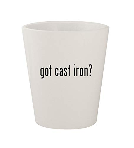 got cast iron? - Ceramic White 1.5oz Shot Glass for sale  Delivered anywhere in USA