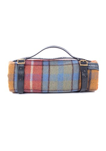The Tartan Blanket Co. Recycled Wool Picnic Blanket with Black Leather Strap (Buchanan Antique) (Antique Wool Blanket)
