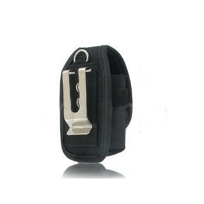 Universal Heavy Duty Rugged Nylon Canvas Protective Carrying Cell Phone Case Pouch (with Metal belt Clip) for Medium Sized Flip Phones - Black