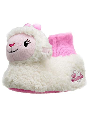 Doc McStuffins Toddler Girls 3D Lambie Plush Lamb Sock Top Slippers (5-6 M US Toddler, White/Pink) -