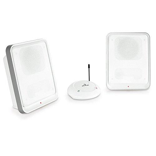 auna Loft 30 UHF-Funk-Lautsprecher Funk-Boxen Lautsprecher-System kabellos tragbar als Ergänzug zur HiFi-Anlage (bis zu 100 m Reichweite, ausklappbare Standfüße, Stand- und Wandmontage) weiß