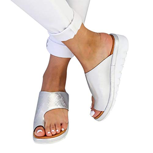 softome Women's Wedge Slides Sandals Flip Flops Toe Ring Side Cutout Slippers Silvery