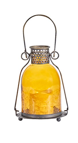 Smart Design 84069-LC Monaco Lantern with LED Candle, Antiqued Bronze-Finished Metal, Includes Amber LED Light