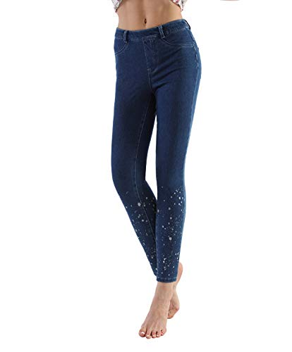 LYZ BAND Women's Stretchy Jeggings High Waist Legging Skinny Jean with Pockets.