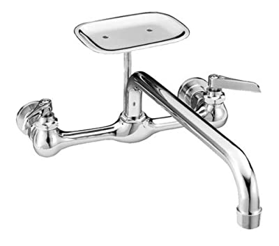 "PROFLO 1.8 GPM Wall Mounted Utility Sink Faucet with 12"" Spout and Lever Handles - Includes Soap Dish"